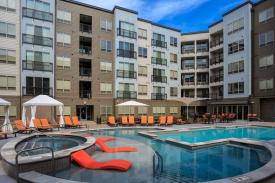 Fully Furnished Corporate Apartments - Cortona at Forest Park (photo provided by property). Pool Area. St. Louis Corporate Housing