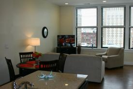 Downtown Corporate Apartments - The Laurel - Kitchen/Living Area